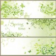 Green floral horizontal banners — Vector de stock #24638833