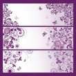 Stock Vector: Set of horizontal violet floral greeting banners