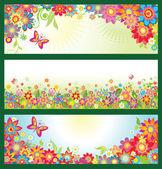 πανό με άνθη το καλοκαίρι — Διανυσματικό Αρχείο