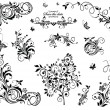 Black and white vintage floral design — Stock Vector