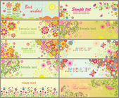 Set of greeting horizontal cards — Vettoriale Stock