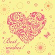 Cute greeting card with floral decorative heart — Stockvectorbeeld
