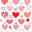 Set of cute red and pink hearts — Stock Vector #26504543