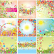 Stock Vector: Summery cards