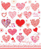 Set of cute red and pink hearts — Stock Vector