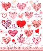 かわいい赤とピンクのハートのセット — ストックベクタ