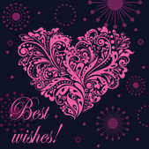 Congratulations with pink heart — Stock Vector