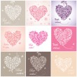 Beautiful greeting cards with hearts — Imagen vectorial