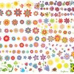 Summer flowers, sun and butterflies — Stock Vector