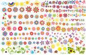 Zomerbloemen, zon en vlinders — Stockvector