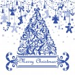 Greeting card with blue christmas tree — Imagen vectorial