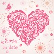 Funny greeting card with abstract pink heart — Stok Vektör
