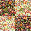 Wallpapers with paisley and summer flowers — Stock Vector #31871129
