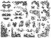 Siyah-beyaz vintage tasarım öğeleri — Stok Vektör