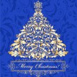 Blue card with golden christmas tree — Vektorgrafik