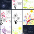 Abstract banners with dandelions — Vector de stock