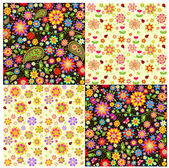 Wallpapers with paisley and summer flowers — Stock Vector
