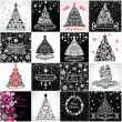 Black and white vintage christmas tree — Foto Stock