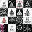 Black and white vintage christmas tree — Lizenzfreies Foto
