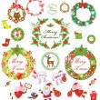 Set of christmas wreath — Stock Photo