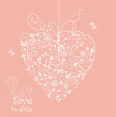 Beautiful pink card with heart shape. — Stock Photo