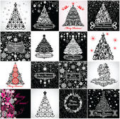 Black and white vintage christmas tree — Stock Photo