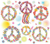 Collection of Peace flower symbol — Stock Photo