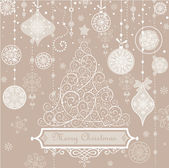 Retro greeting pastel card with xmas tree. — Stock Photo