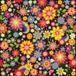 Seamless floral wallpaper with rainbow — Stock Vector