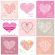 Stock Vector: Arrival cards with hearts