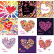 Stock Vector: Greeting cards with funny hearts