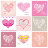 Arrival cards with hearts — Stock Vector