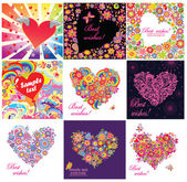 Greeting cards with funny hearts — Stock Vector