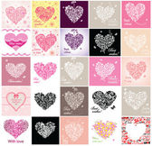 Greeting cards with hearts. Set — Stock Vector