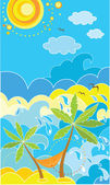 Summer holiday poster with palm — Vector de stock