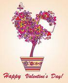 Valentine blooming tree — Stock Vector