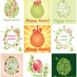Collection of greeting cards with easter eggs — Stock Vector #40553793