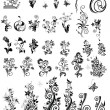 Decorative floral design elements (black and white) — Stock Vector