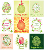 Collection of greeting cards with easter eggs — Stock Vector