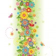 Seamless border with summer flowers — Stock Vector