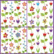 Stock Vector: Set of funny spring floral wallpaper