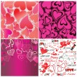 Set of valentines day wallpaper — Stock Vector #40634323