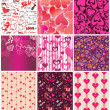 Set of valentines wallpaper — Stock Vector