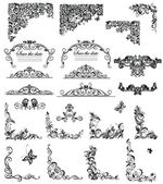 Set of vintage floral caption (black and white) — Cтоковый вектор