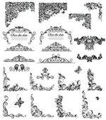 набор старинные цветочные надписи (черный и белый) — Cтоковый вектор