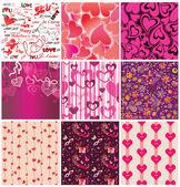 Zestaw tapety na Walentynki — Wektor stockowy