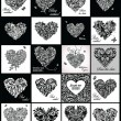 Black and white greeting cards with hearts shape — Stock Vector