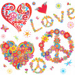 Set of peace flower symbol and floral hearts — Stock Vector