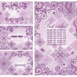 Set of vintage violet cards — Stockvector