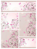 Set of greeting abstract floral cards — Vector de stock